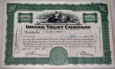 1930s 'Irving Trust Co.' Bank Stock Certificates - 700 PIECES