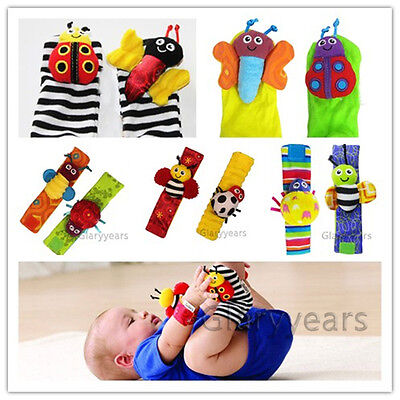 New Baby Infant Plush Wrist Strap & Foot Sock Soft Toy Rattle Finders Bee Bug