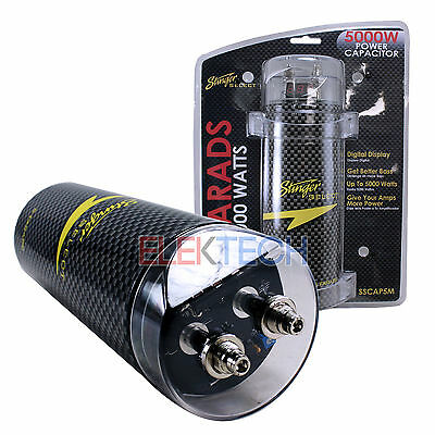 STINGER SELECT SSCAP5M 5 Farad Power Capacitor 12V Car Stereo Digital Power  Cap