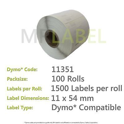 Dymo 11351 Compatible Roll of Labels (100 Rolls)