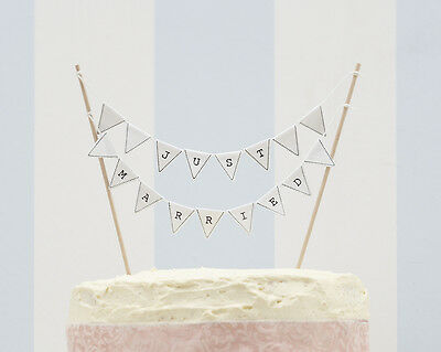 VINTAGE LACE White JUST MARRIED Wedding CAKE BUNTING Flags Topper Decoration