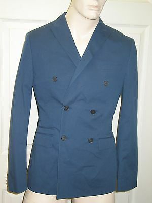 Express Photographer Fitted Cotton Navy Suit Jacket Blazer Mens 38 L Long