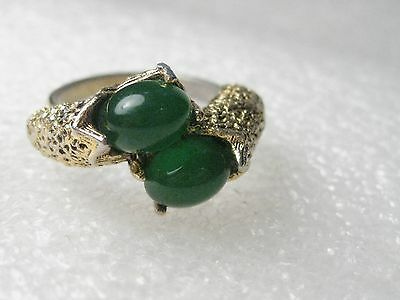 Vintage Goldtone Victorian Wrapped Style Ring with Green Jelly Stones, Adj.