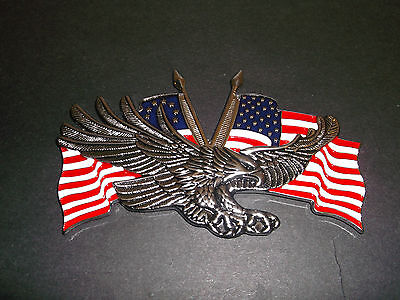Highway Hawk Emblem Eagle/ Flags Self Adhesive Silver/blue/red/white Bc31551 - T