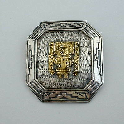 Mid Century Modern PERU Sterling 18KT Pre-Columbian Style PENDANT BROOCH Signed