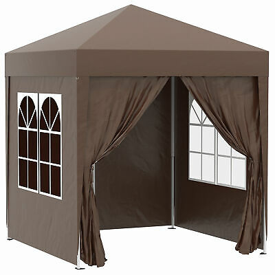 Outsunny 2mx2m Pop Up Gazebo Party Tent Canopy Marquee with Storage Bag Coffee