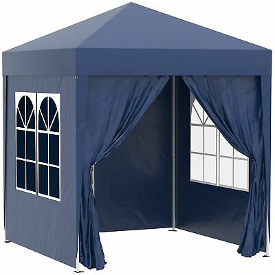 Outsunny 2mx2m Pop Up Gazebo Party Tent Canopy Marquee with Storage Bag Blue