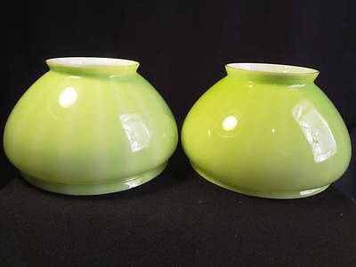 Circa 1900 Pr Emeralite Peridot Apple Green Kerosene Oil Gas Early Elec Shades