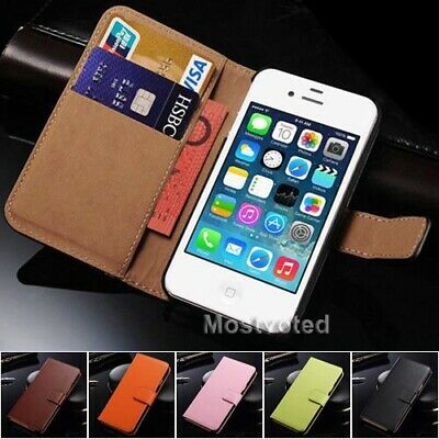 Genuine Leather Flip Wallet Case Cover for Apple iPhone 4S 4