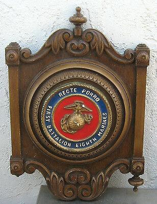 VINTAGE USMC First Battalion Eighth Marines Wood &Cast Aluminum Wall Plaque 1968