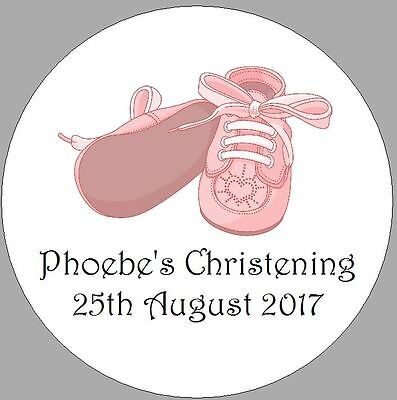 24 x 40mm Personalised Stickers Christening Pink Baby Shoes Round  Labels Seals