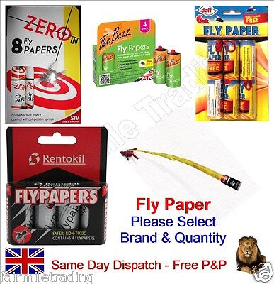 Fly Paper Insect Catcher Bug Wasp Sticky Trap Poison Free MULTI LISTING/FREE P&P