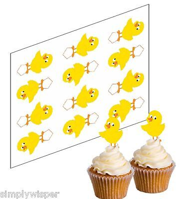 12 Easter Chick Edible Cupcake Picks Rice paper Cake Decorations Toppers