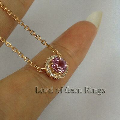 Pink sapphire pendant with Necklace,Solid 18K Rose Gold,3.34g,4.5mm Round Cut