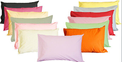 NEW Quality Polycotton Plain Dyed Pillowcase (Pair) - FREE DELIVERY