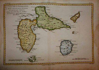 1780 Bonne Map GUADELOUPE Erupting Soufrière Volcano, Decorative and Detailed!