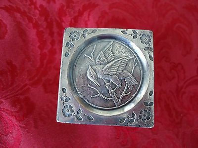 Japanesque Silverplate Square Napkin Ring with Bird and Floral Design
