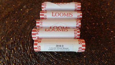 5 rolls Pennies 2018-D Lincoln Cent Union Shield OBW Free Priority Shipping