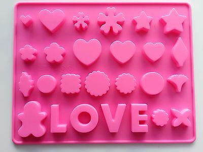Heart love Valentine Fondant Cake ice Cube Cookie Silicone Mold Mould Decorating