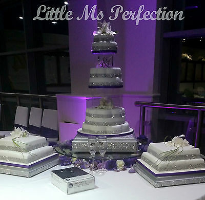 """Square Silver  Diamante Effect Wedding  Display Cake Stand Board Solid Wood  18"""""""