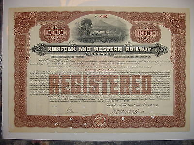 1912 $10,000 Norfolk & Western Railway Company Bond Stock Certificate Railroad