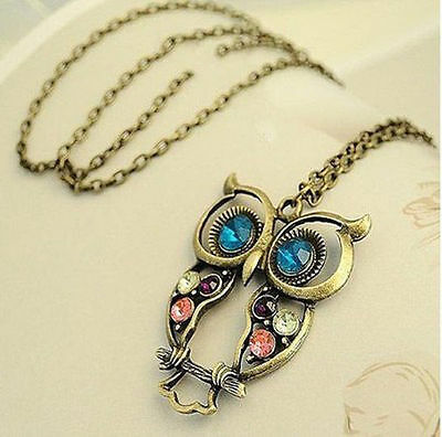 Fashion Vintage Colorful Cute Owl Carved Hollow Chain Necklace crystals pendant