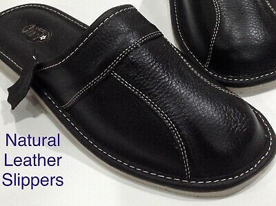 New BlackLeather Slippers Mule Wool Sheep Shoes Size 7 8 9 10 11 12 13 FlipFlop