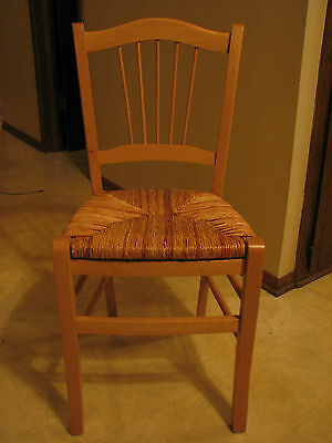 Antique Vintage Rush Seat Chair Made In Italy