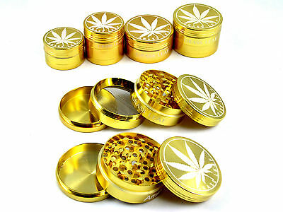 METAL GOLD GRASSLEAF 40&50mm WEED HERB GRINDER MAGNETIC 3&4 PART POLLINATOR