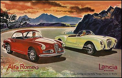 001 Vintage Advertising Transport Art  Lancia  Motoring