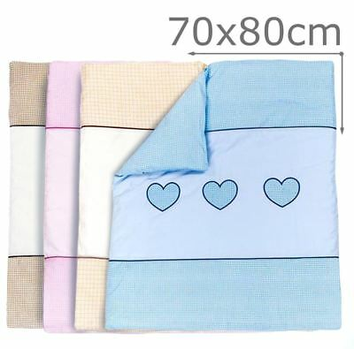 Embroidered Quilt / Duvet Filling Fits Crib / Pram  - Love Heart