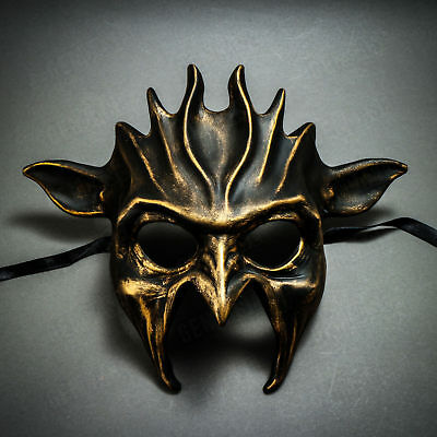 Black Gold Fire Devil Mask Masquerade Full Face Costume For Halloween Party