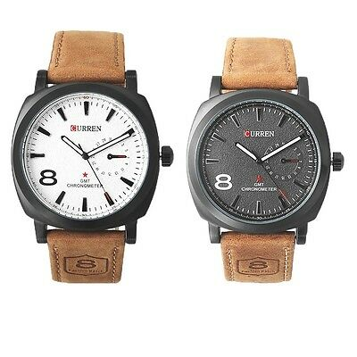 CURREN Army Military Style Mens Watches Leather Strap Quartz Watch Accessories
