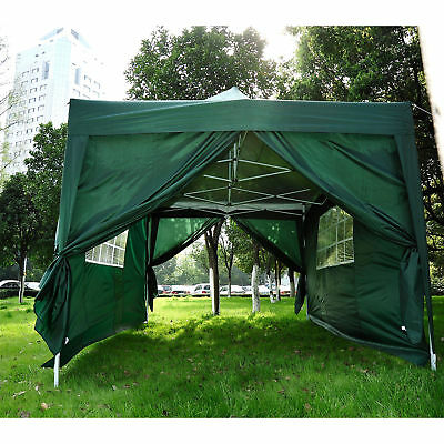 Outsunny 4.5mx3m Pop Up Gazebo Party Tent Canopy Marquee with Storage Bag Green
