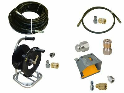 """Sewer Jetter Cleaner Kit - Foot Valve, 100' x 1/4"""" Hose, Reel and Nozzles"""