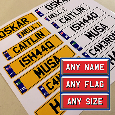 KIDS CHILDS RIDE ON PERSONALISED NUMBER PLATE SET, CAR TRUCK JEEP 140mm wide
