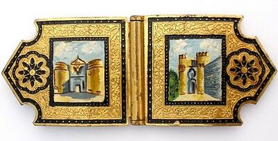 Victorian Sash Ornament Hand Painted Toledo The Gate of Gilded Brass Buckle