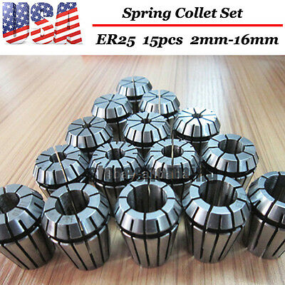 ER25 15PCS 2-16MM Spring Collet Set For CNC milling lathe tool Engraving machine