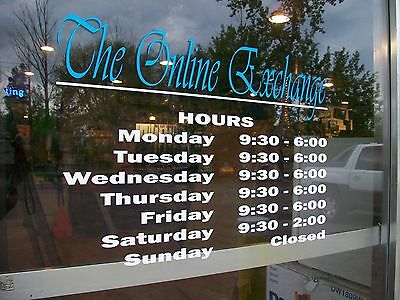 """Custom Business Store Hours Sign, Business Vinyl Colors Decal Up To 12""""Hx18""""W"""