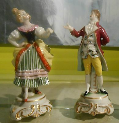 LUDWIGSBURG Style Figures ,Male&Female , OLD Porcelain Mark,GREAT! No chips!