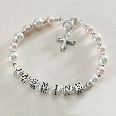 Sterling Silver Personalised Bracelet Girls First Holy Communion Jewellery Gift