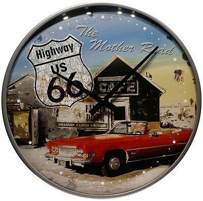 Wanduhr Route 66  Mother Road Car ∅ 31 cm Echtglas Quarz Uhrwerk Blech Uhr 17