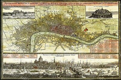 HUGE historic 1740 LONDON ENGLAND MAP OLD ANTIQUE STYLE FINE art print