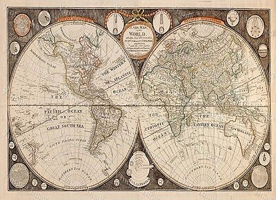 HUGE historic 1799 THOMAS KITCHEN ANTIQUE STYLE MAP OF THE WORLD FINE art print