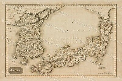 HUGE HISTORIC 1815 Pinkerton's Map Sea of Japan OLD ANTIQUE STYLE MAP art print