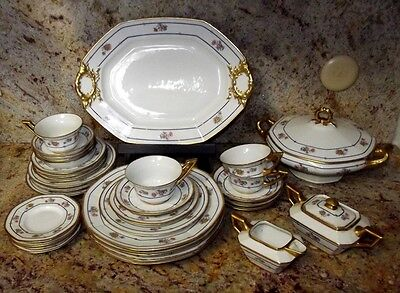 1908 JEAN POUYAT LIMOGES CHINA GOLD WREATH FLOWERS 44pc KINNEY&LEVAN CLEVELAND