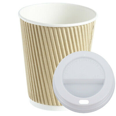 100 X Ripple 12oz Cups & Lids Kraft Insulated Coffee Tea Cup Disposable Supplies
