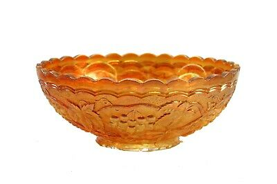 """Vintage Imperial Carnival Glass Co. Iridescent Marigold Grape Scalloped 7"""" Bowl"""