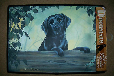 DOGGY DOOR MATS - Decorative Dog Breed Specific Labrador Welcome Mat - Black Lab