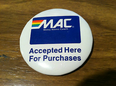 VINTAGE MAC AUTOMATED TELLER MACHINE ATM PIN BACK PIN